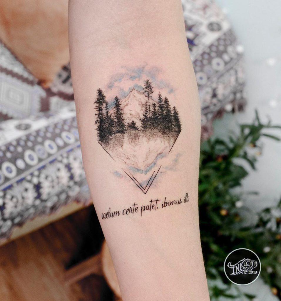 tattoo with writing 'Caelum certe patet, ibimus illi'