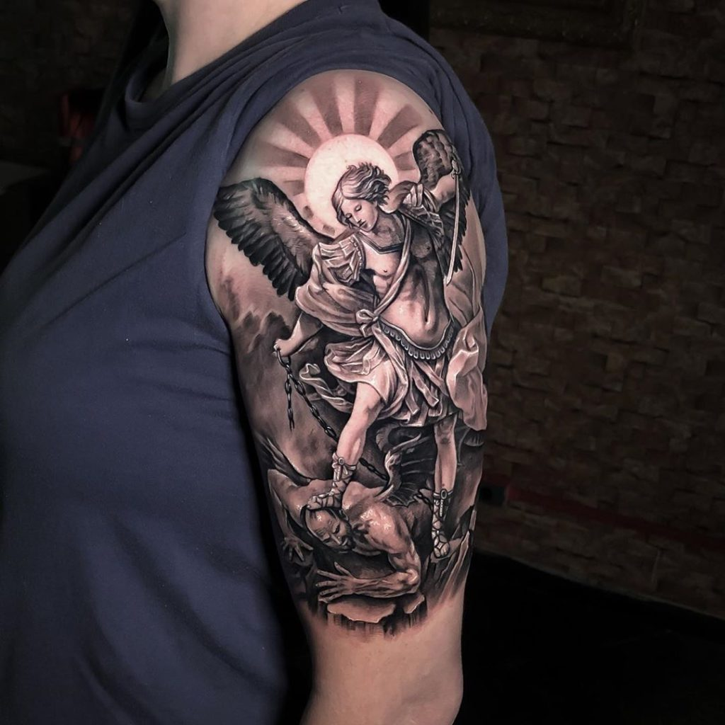 Angel Religious tattoo on Arm (upper) by Jonathan Novello