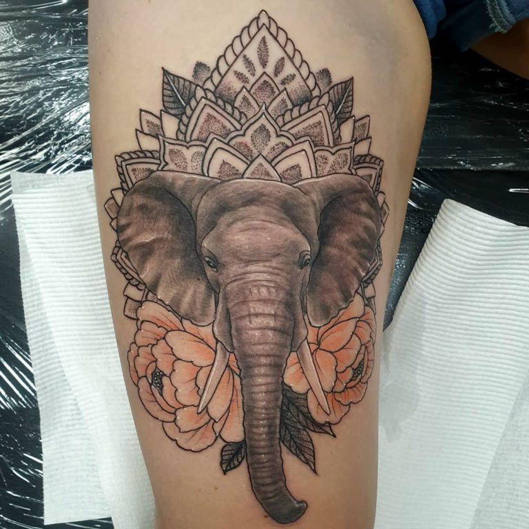 Animal Elephant Mandala Floral tattoo - Ornamental style by Keean Forgiarini