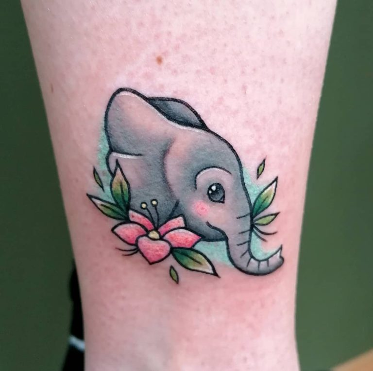 Animal Elephant tattoo on Ankle - Color style by Katja