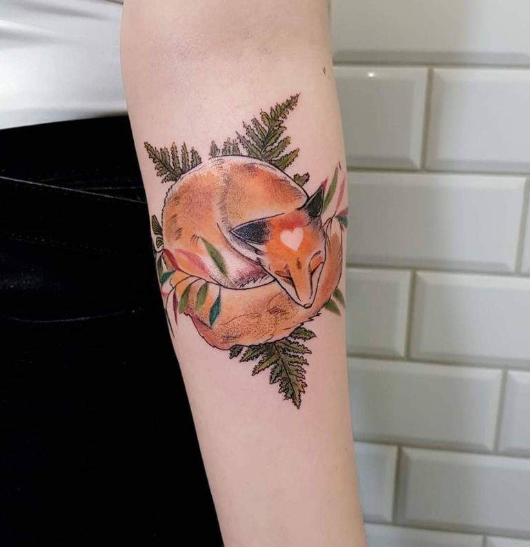 Animal Fox tattoo on Forearm (inner) - Color style by Lidia la rose