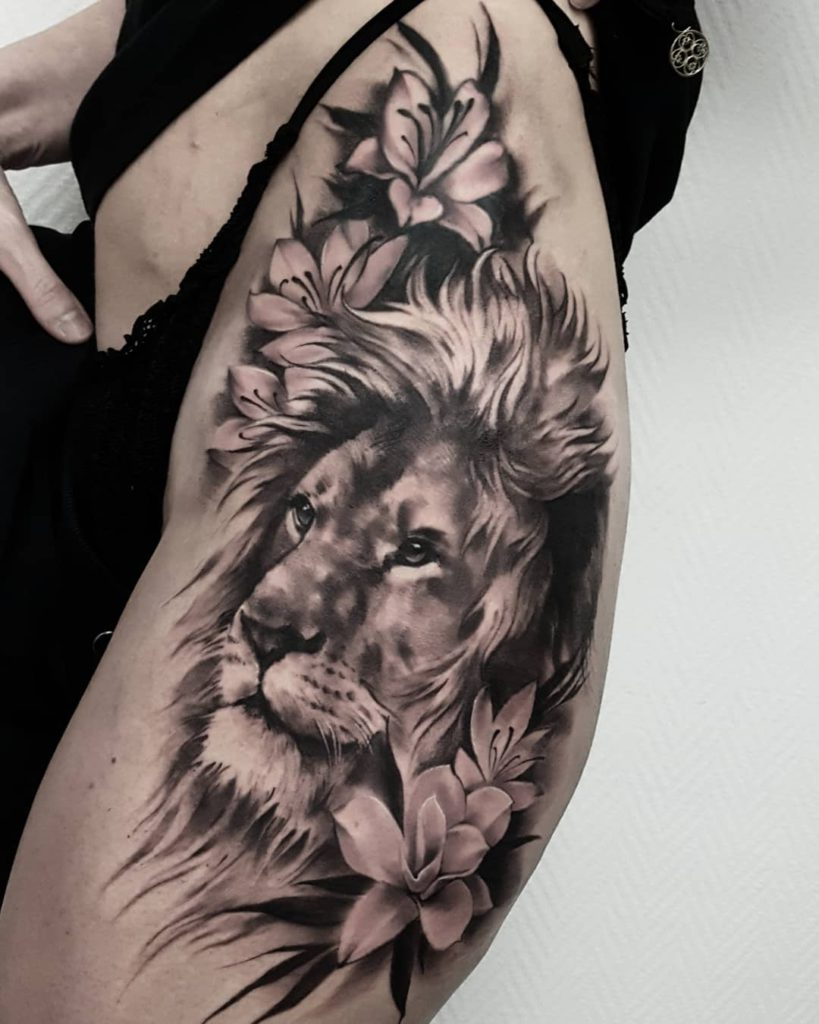 Animal Lion Floral tattoo on Thigh (side) - Black and Grey style by m.k.a.