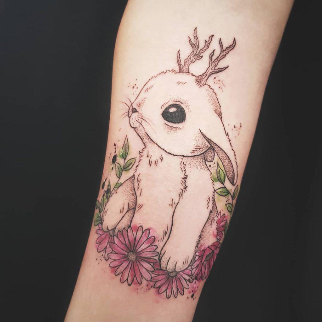 Animal Rabbit tattoo - Illustrative style by Jenny