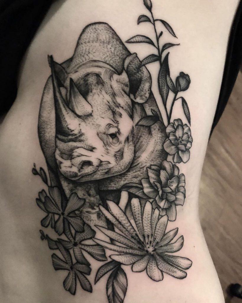 Animal Rhino Rhinoceros floral tattoo - Blackwork style by Jacob Kearney