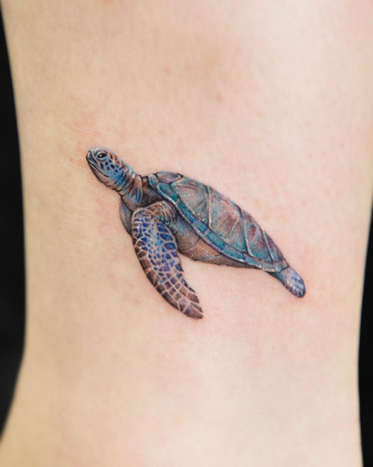 Animal Turtle Sea Ocean tattoo on - Color style by tattooist_color.b