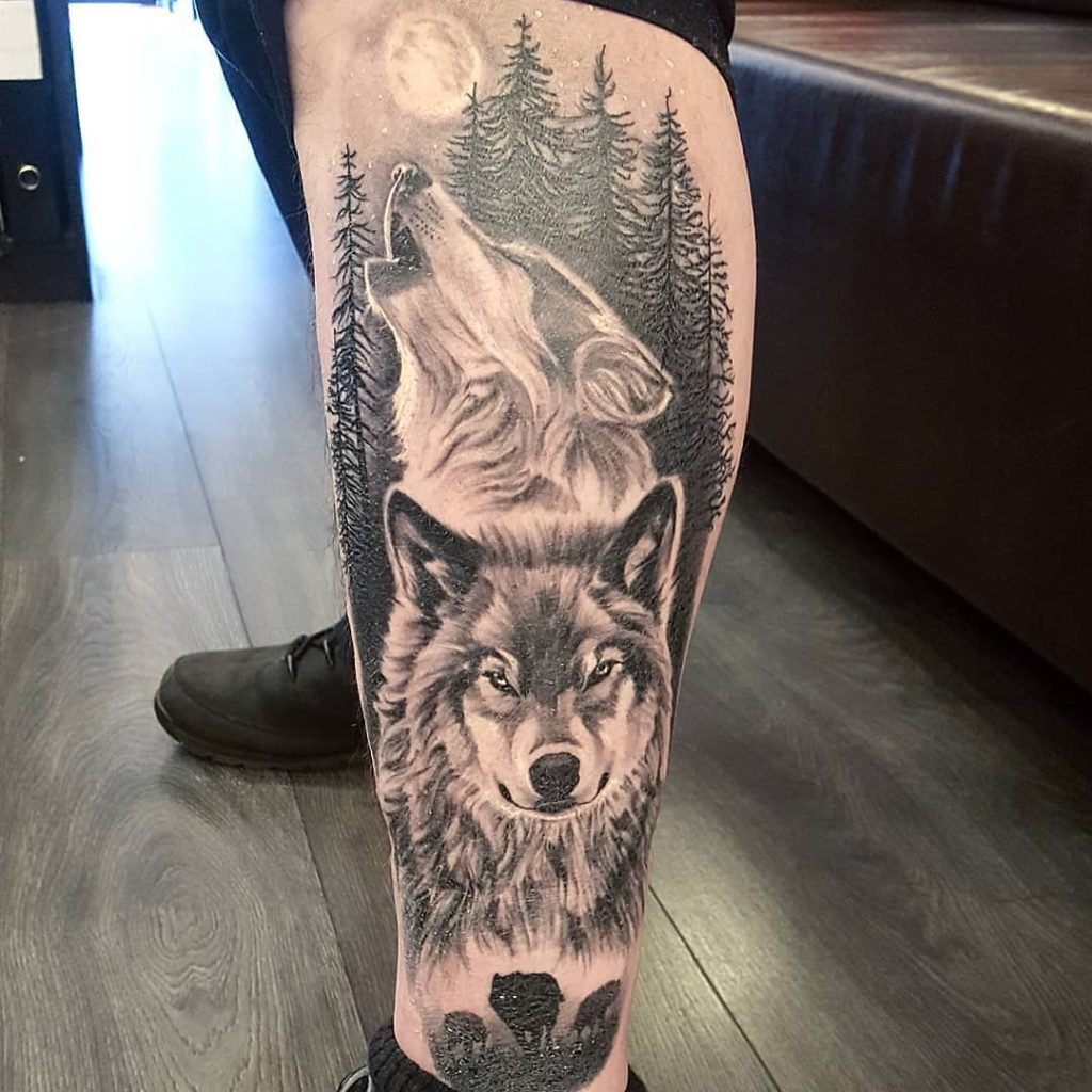 Animal Wolf Forest Moon tattoo on Calf - Black and Grey style by Viv Crogs