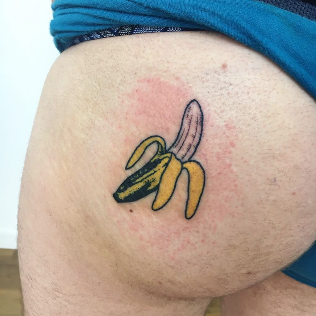 Banana tattoo on Butt - Color style by Alba del Bas
