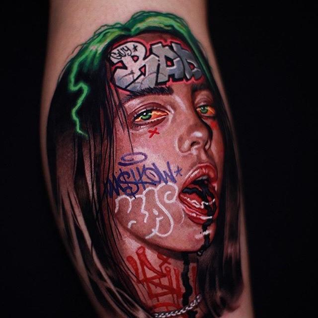 Billie Eilish graffiti tattoo  - Color style by MASHKOW