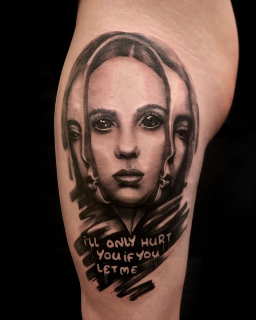 Billie Eilish lyrics portrait tattoo  - Black and Grey style by Will Gee