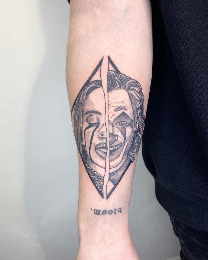 Billie Eilish Joker portrait tattoo  - Blackwork style by alex