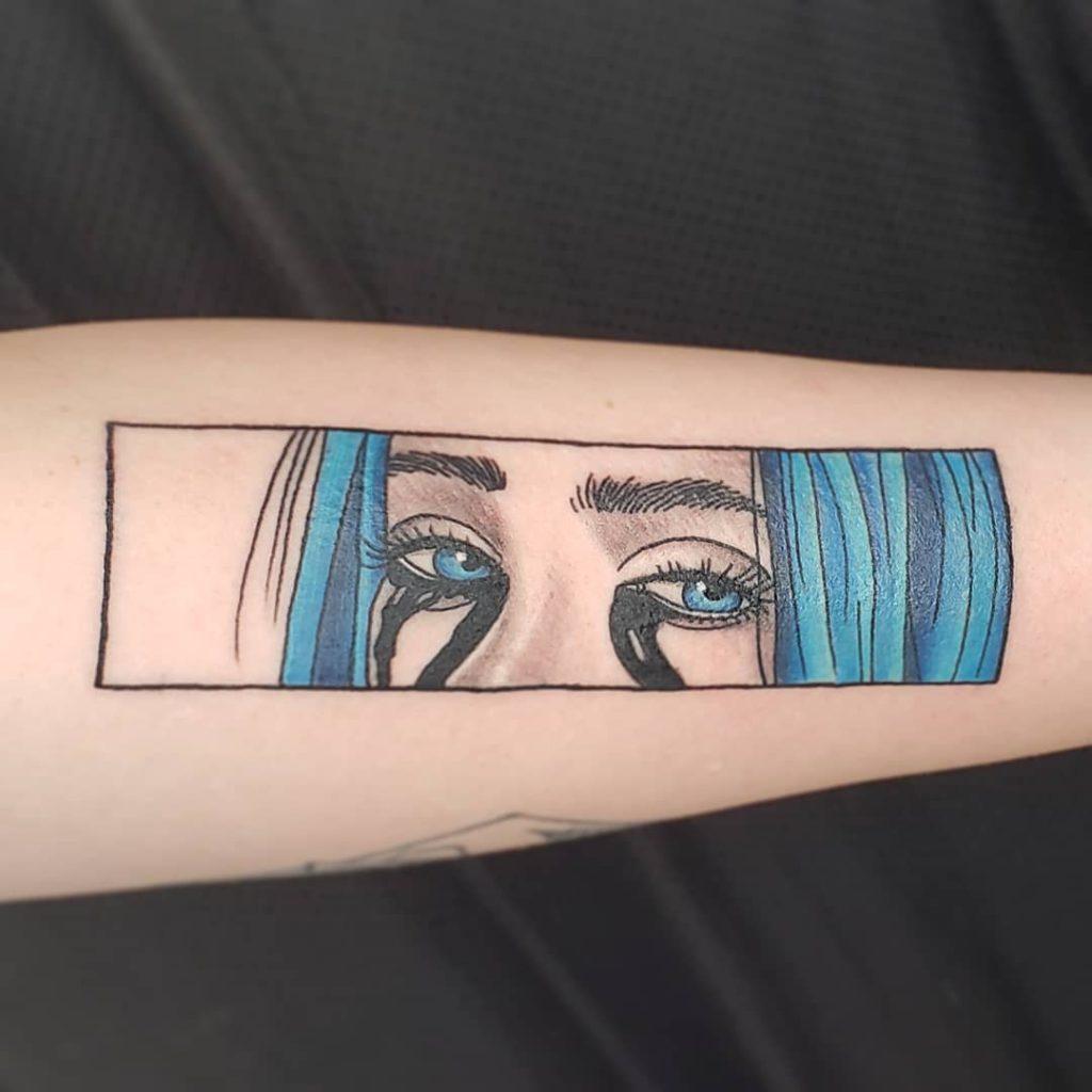Billie Eilish eye tattoo on Forearm (inner) - Illustrative style by Ashwee Hart