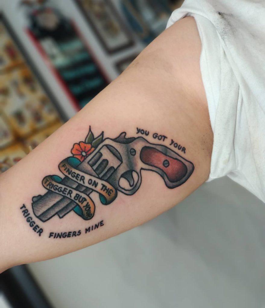 Billie Eilish lyrics tattoo  - Traditional style by SnowGlobe Sofy