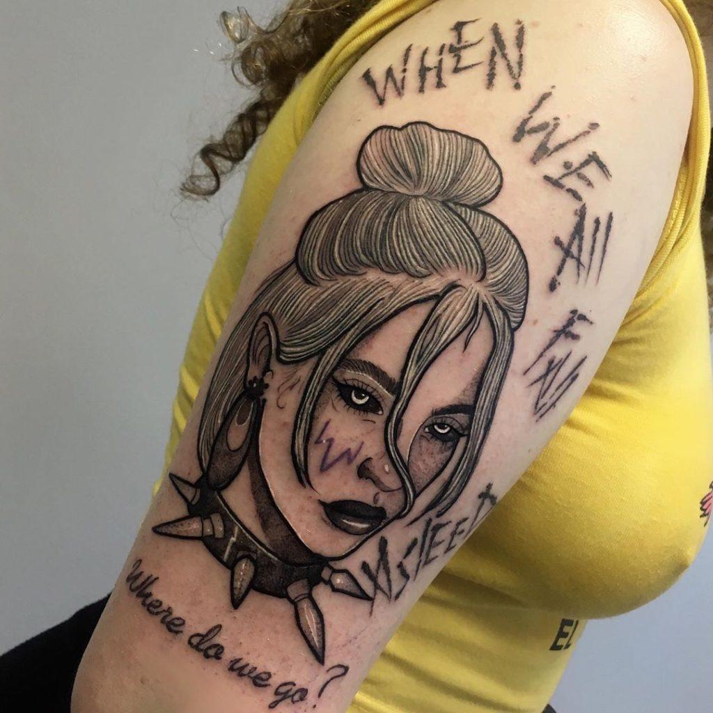 Billie Eilish portrait tattoo on Arm (upper) - Blackwork style by Lena Chuzhaya