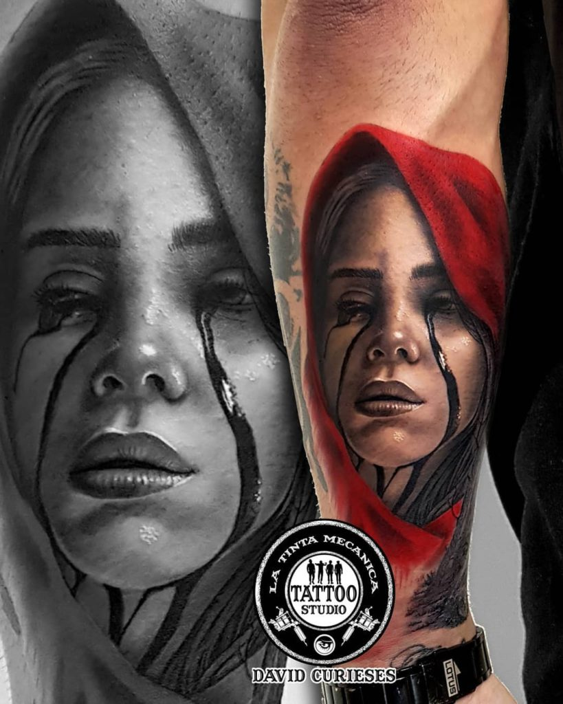 Billie Eilish portrait tattoo on Forearm (back) - Realism style by David Curieses