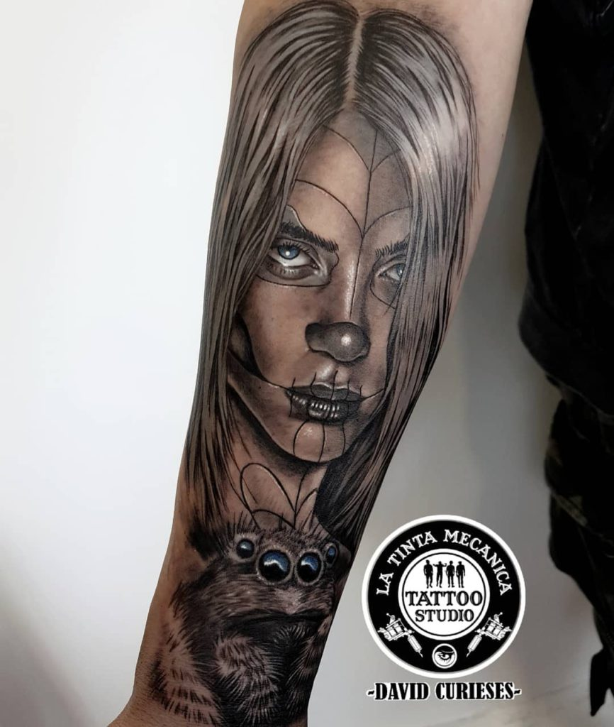 Billie Eilish portrait tattoo on Forearm (inner) - Black and Grey style by David Curieses