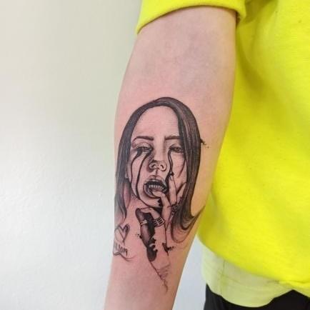 Billie Eilish portrait tattoo on Forearm (inner) -  style by ejwy.tattoo