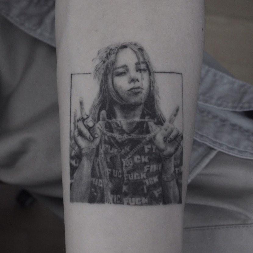 Billie Eilish portrait tattoo on Forearm (inner) - Micro Realism style by hiisi_tattoo