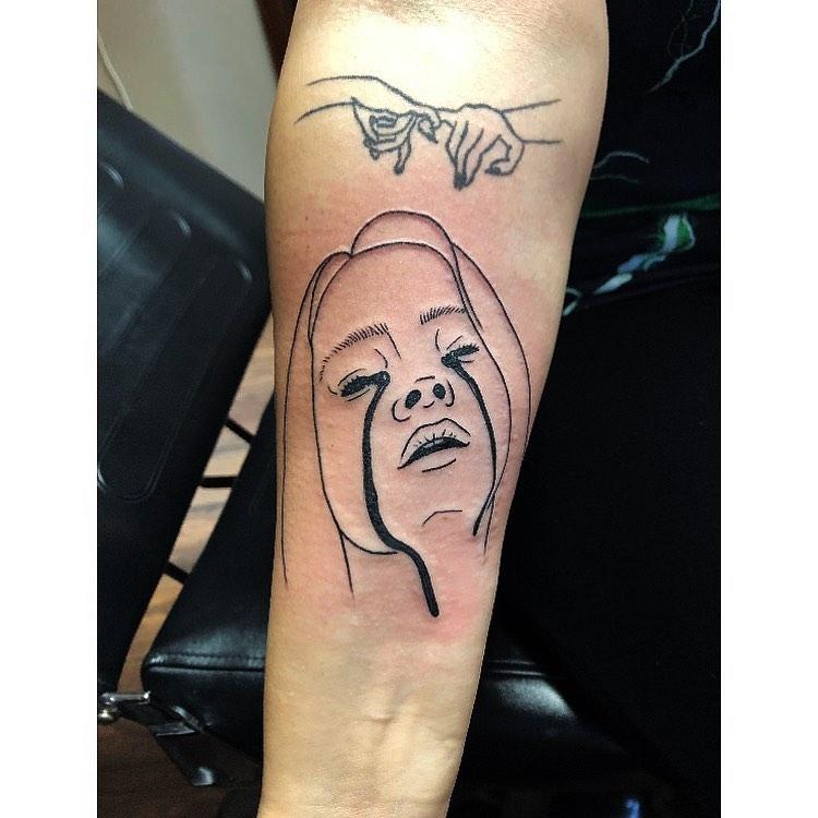 Billie Eilish portrait tattoo on Forearm (inner) - Linework style by Mia Lewis