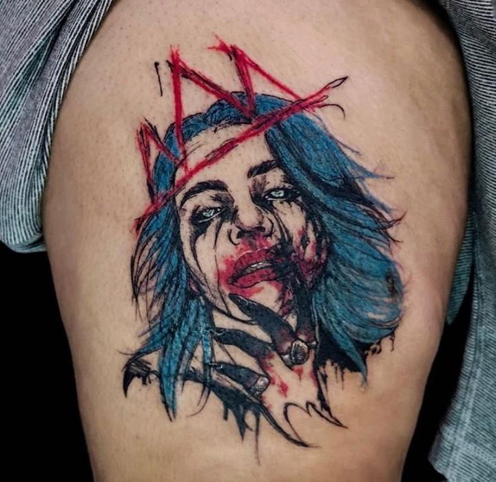 Billie Eilish portrait tattoo on Thigh - Color style by Aimee