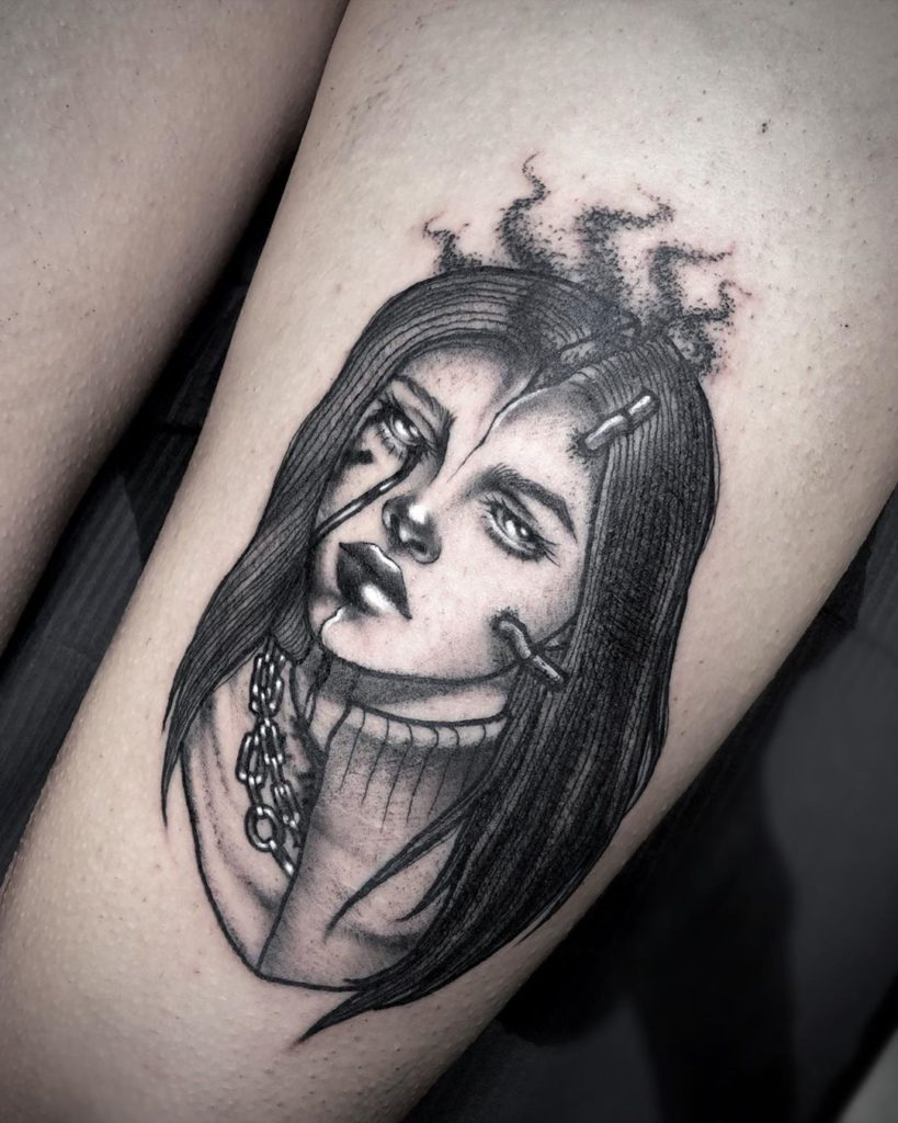 Billie Eilish portrait tattoo  - Blackwork style by Grace Morgan