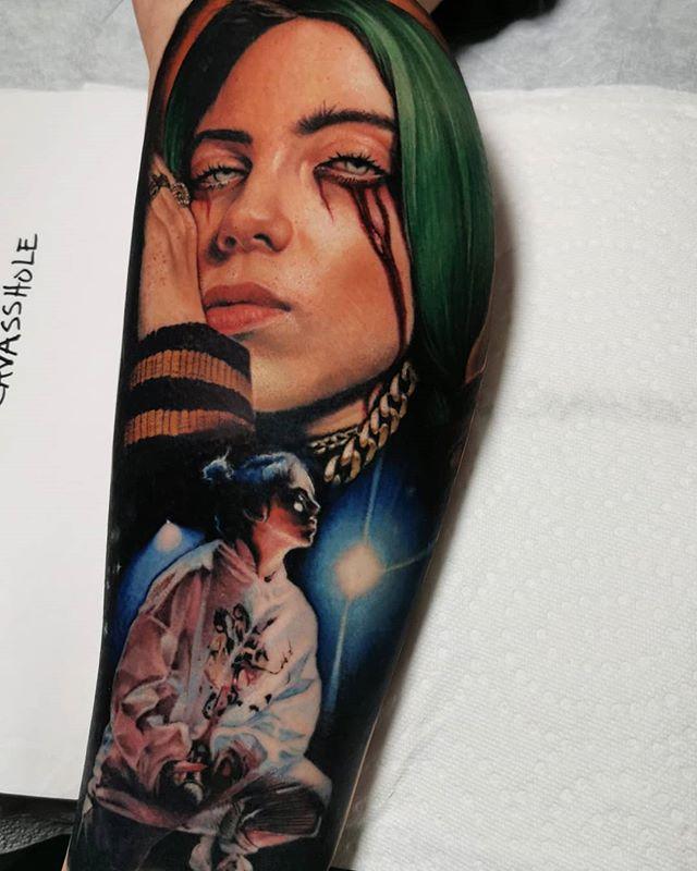 Billie Eilish portrait tattoo  - Realism style by Jess Cavazos