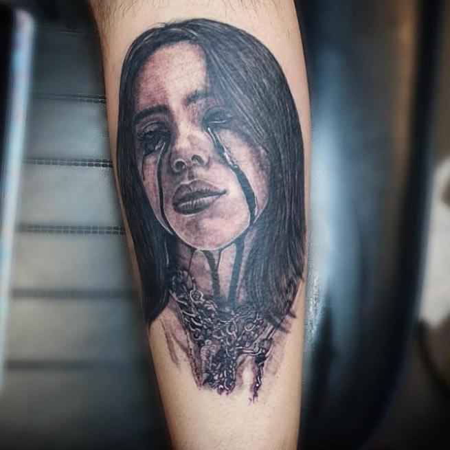 Billie Eilish portrait tattoo  - Black and Grey style by jessica-louise