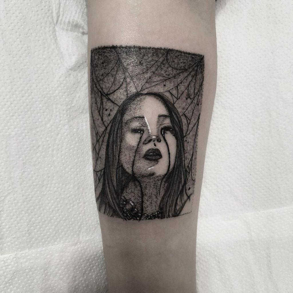 Billie Eilish portrait tattoo  - Dotwork style by Marilyn
