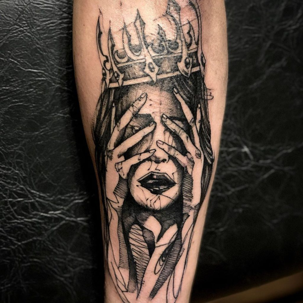 Billie Eilish portrait tattoo  - Blackwork style by Maximilian Stan