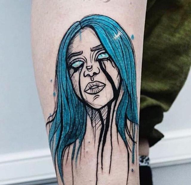 Billie Eilish portrait tattoo  - Illustrative style by Yuveza