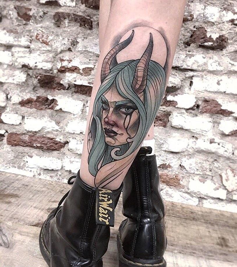 Billie Eilish portrait tattoo on Calf - Neo Traditional style by Alejandro Leys