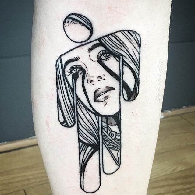 Billie Eilish  tattoo on Leg - Blackwork style by AJ France