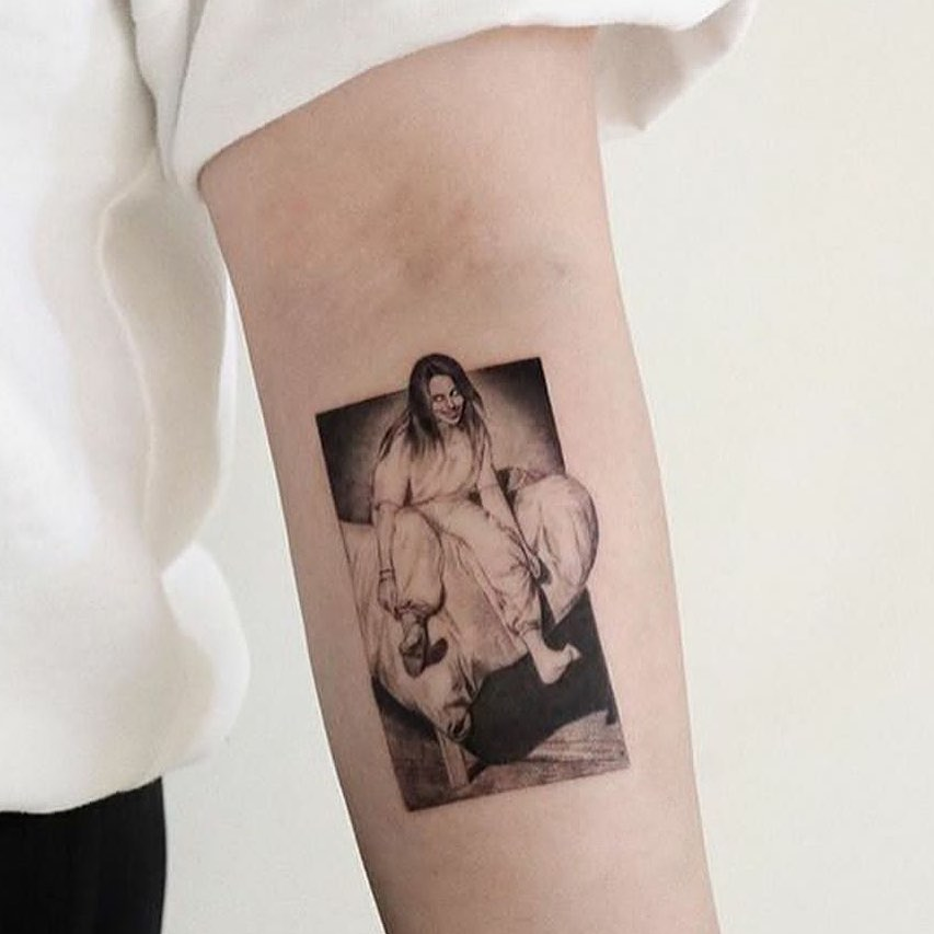 Billie Eilish  tattoo on Forearm (inner) - Micro Realism style by sun__ink