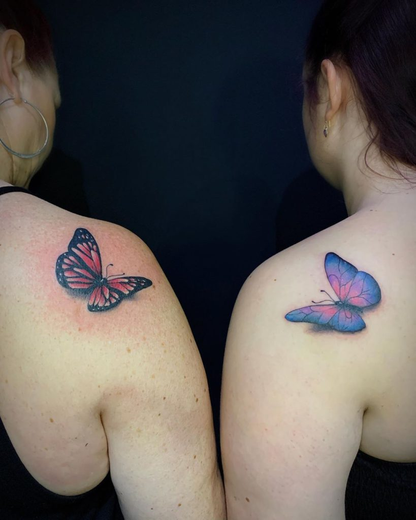 Butterfly tattoo on Shoulder - Color style by Poppy Rose