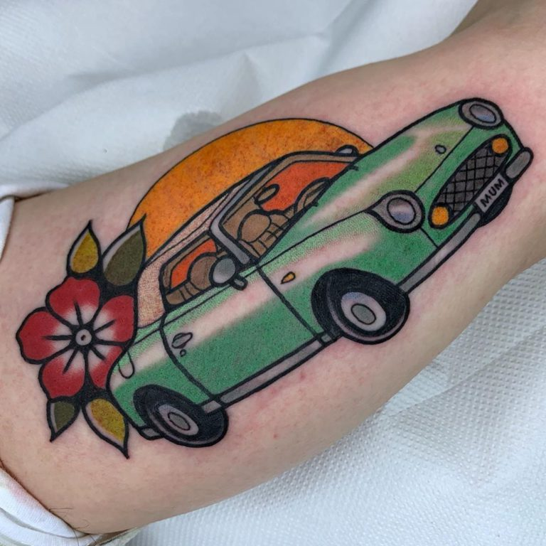 Car tattoo on Arm (upper) - Color style by tippingtattoo