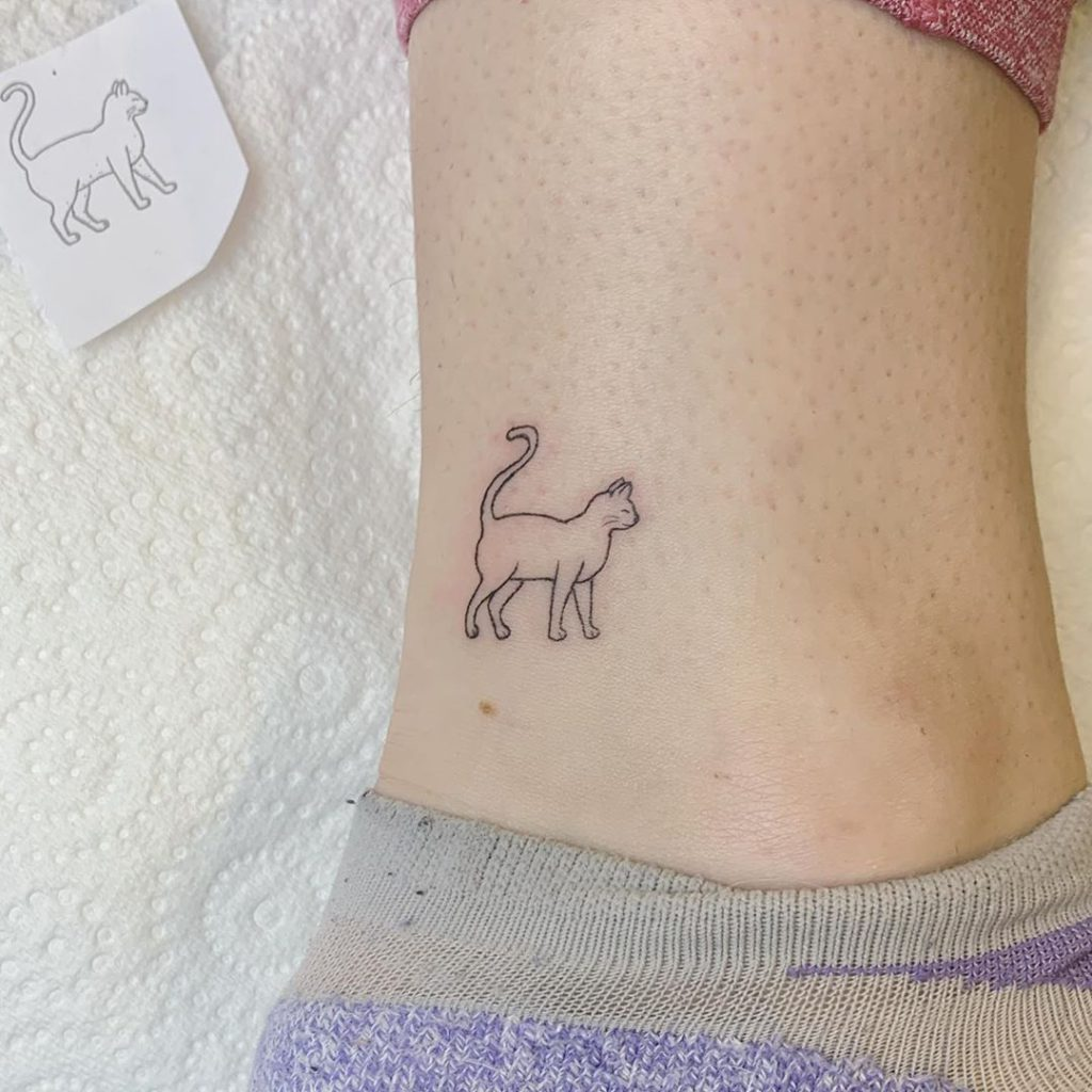 Cat Animal tattoo on Ankle by Peta