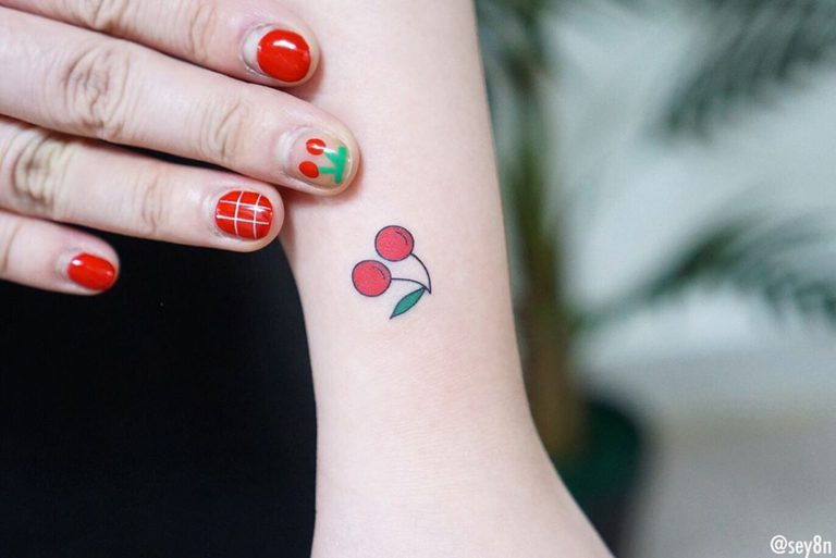 Cherry Fruit tattoo on Wrist (top) by Seyoon