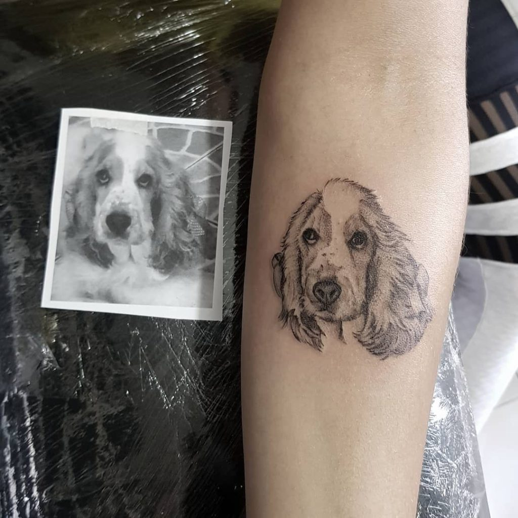 Dog tattoo on Forearm (inner) by Saulo Borges