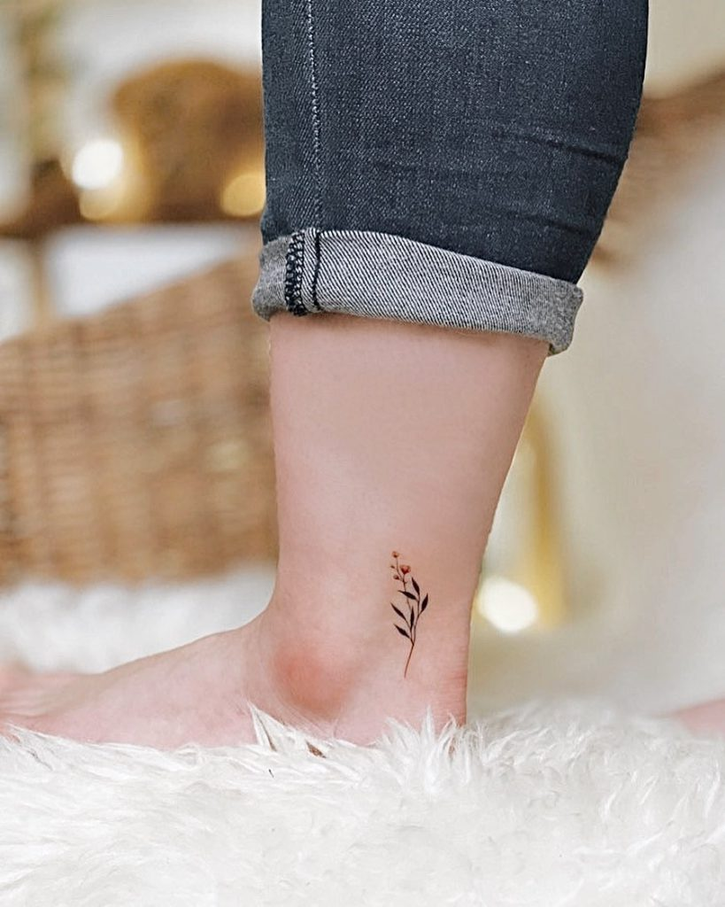 Flower Plant Botanical tattoo on Ankle by Dalgu