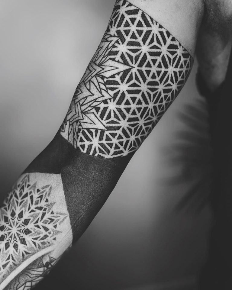 Geometry tattoo on Arm sleeve (full) by Amber Muse