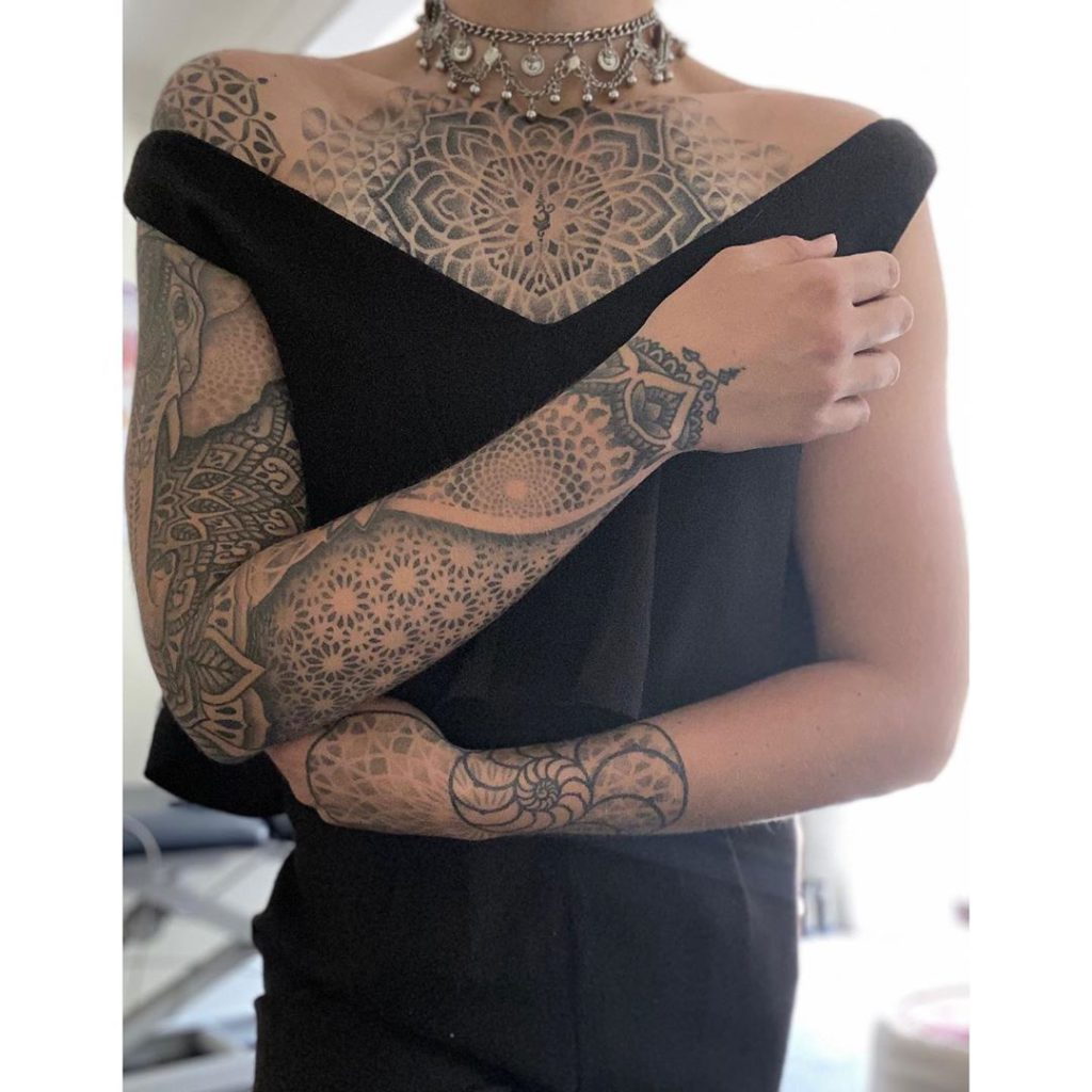 Geometry tattoo on Arm sleeve (full) by Anna Day