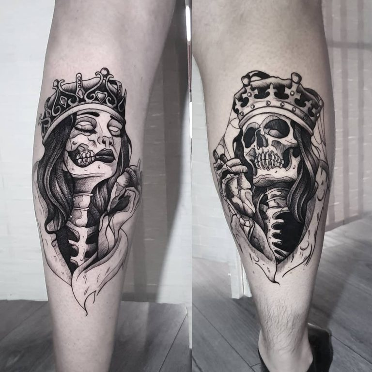 King & Queen tattoo on Calf by Ash Ryan