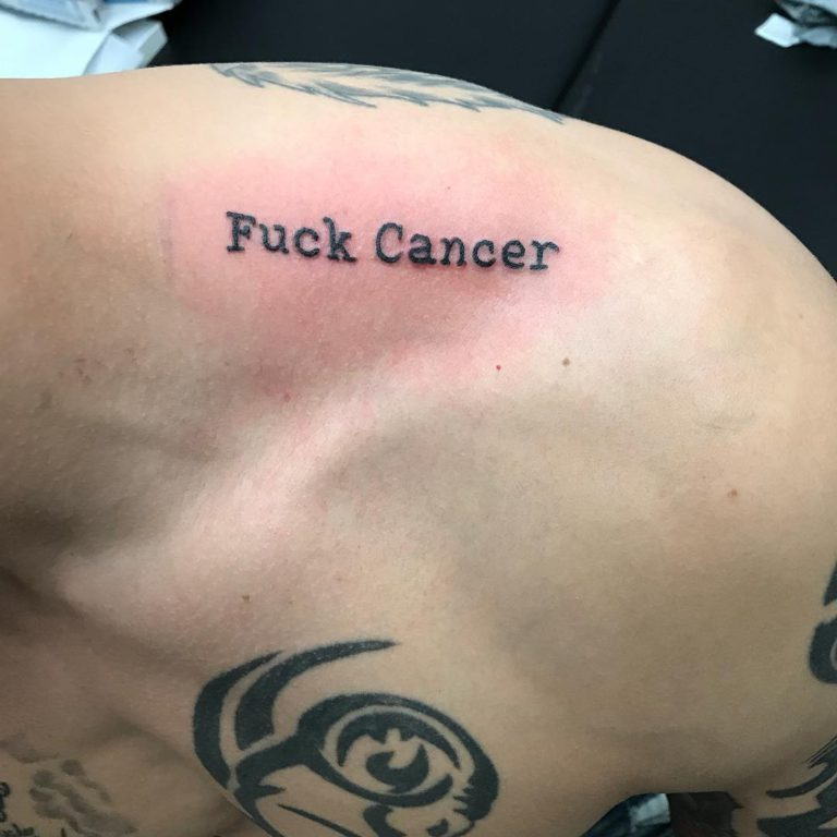 Fuck Cancer tattoo on Shoulder by Comic-Book-M