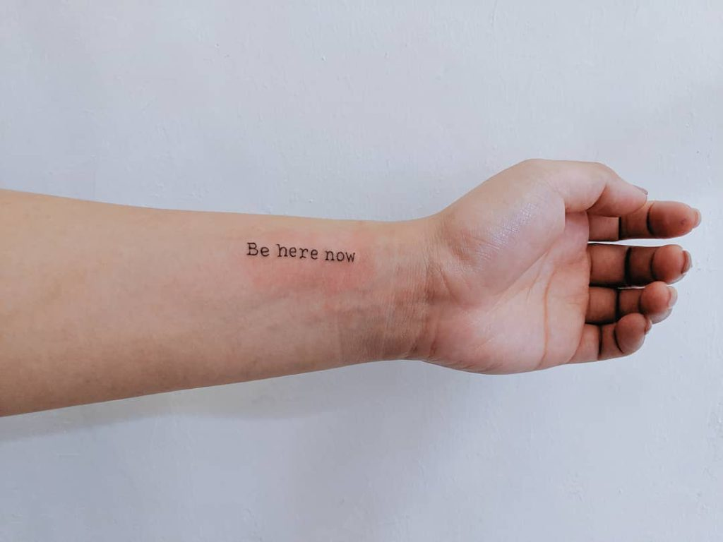 Quote tattoo on Wrist - Lettering style by Cynthia Omi