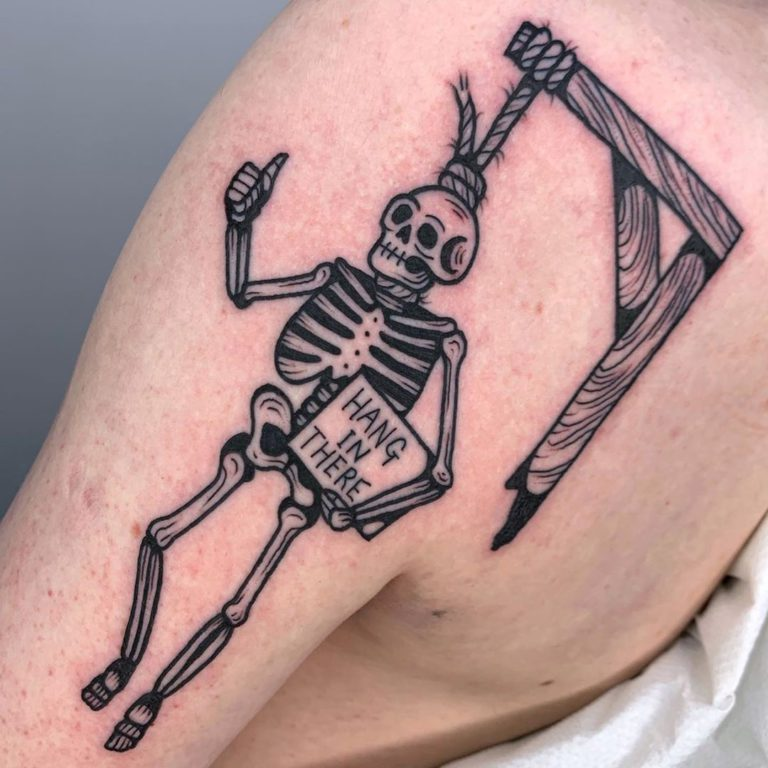 Skeleton tattoo on Arm (upper) by Paul Tipping
