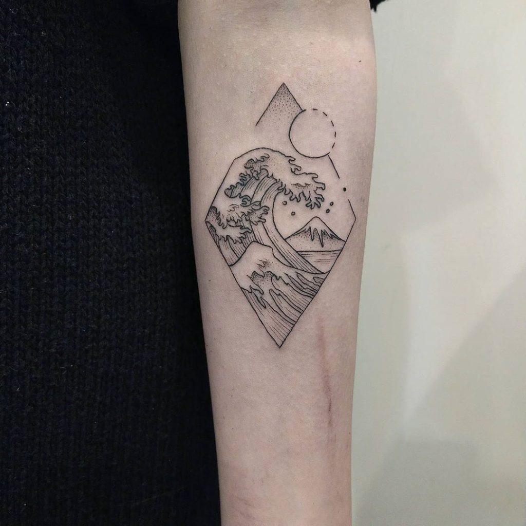Wave Mountain Ocean Sun tattoo on by Chung Li-Chun