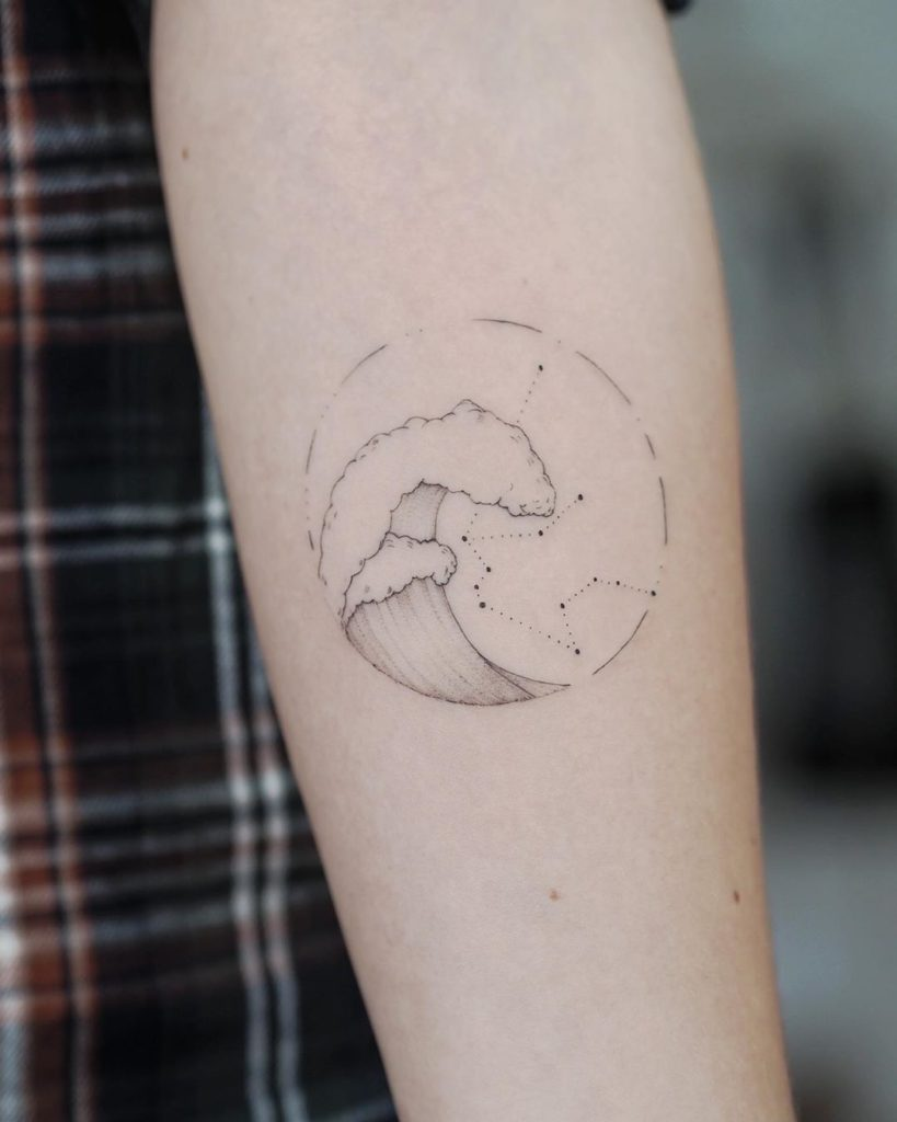 Wave Constelation tattoo on Forearm (inner) by Alina