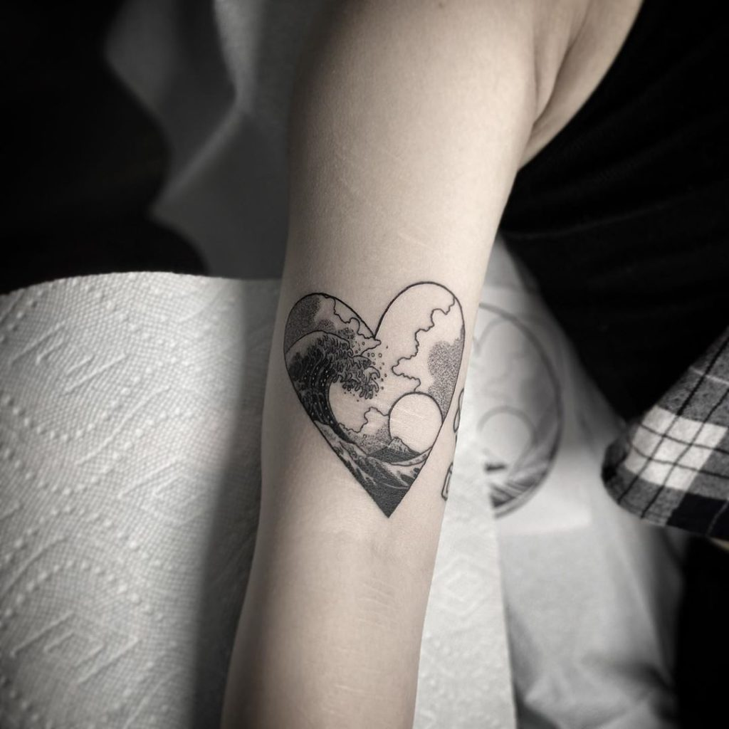 Wave Heart tattoo on Arm (inner) by Eden