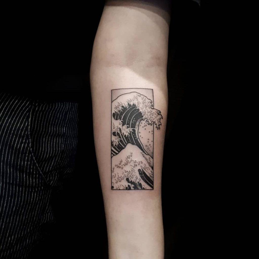 Wave Hokusai tattoo on by arnaz disaster