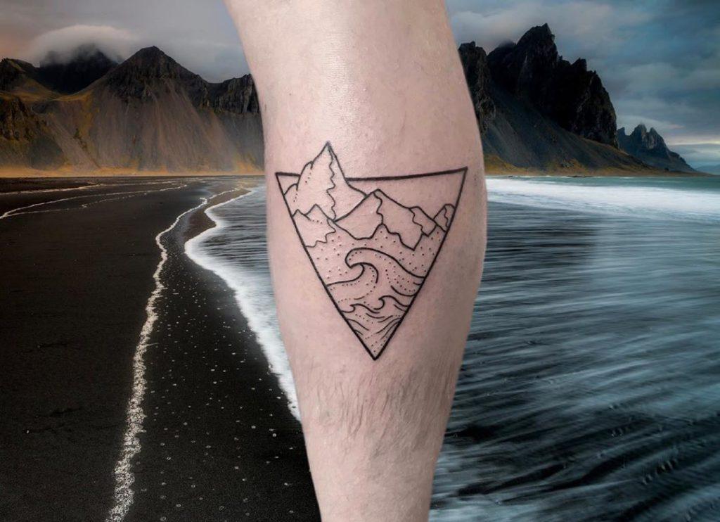 Wave Mountain tattoo on Calf by Cynthia O