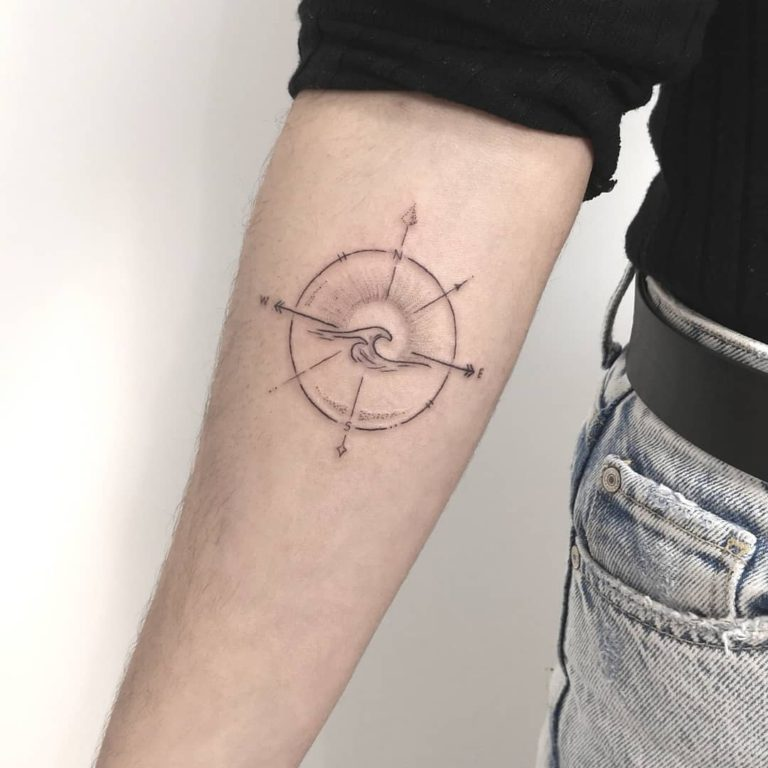 Wave  tattoo on Forearm (inner) - Fine Line style by Amaia Arriaga